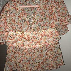 Zara blouse , sheer multi color
